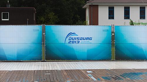 Bauzaunplane aus Mesh mit Logo der Kanu WM Duisburg 2013