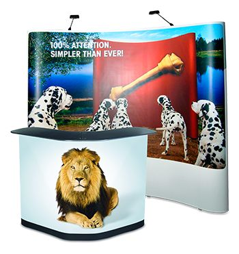 Expolinc Pop Up Display Case & Counter mit großer Ecktheke und Druck