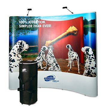 Expolinc Pop Up Display Travel mit großem Rollkoffer