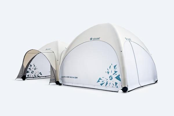 Gybe 4 und 5 Meter Zelt verbunden